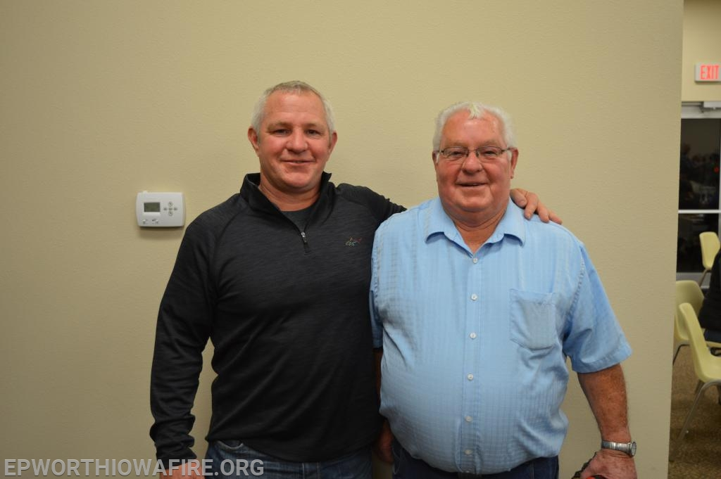 New Board Member Tim McQuillen is pictured with his father Joe McQuillen at the annual appreciation dinner.