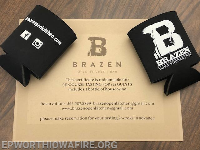 Brazen 4 Coarse Tasting with a house bottle of Wine!!!  We have 2 of these donated by Andrew New and Brazen!