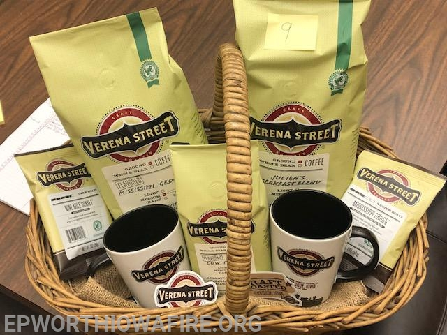 "Coffee lovers basket ""Born in Dubuque"" donated by Verena St Coffee Co. Dubuque, IA"