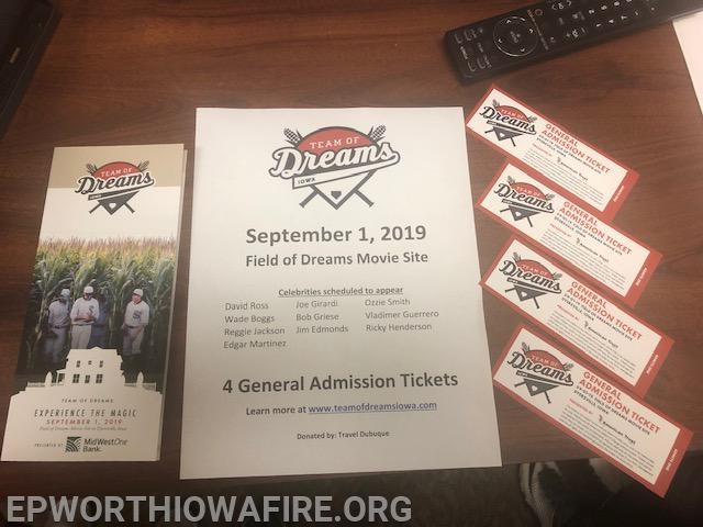 4-CA tickets to Team of Dreams event. Donated by Travel Dubuque