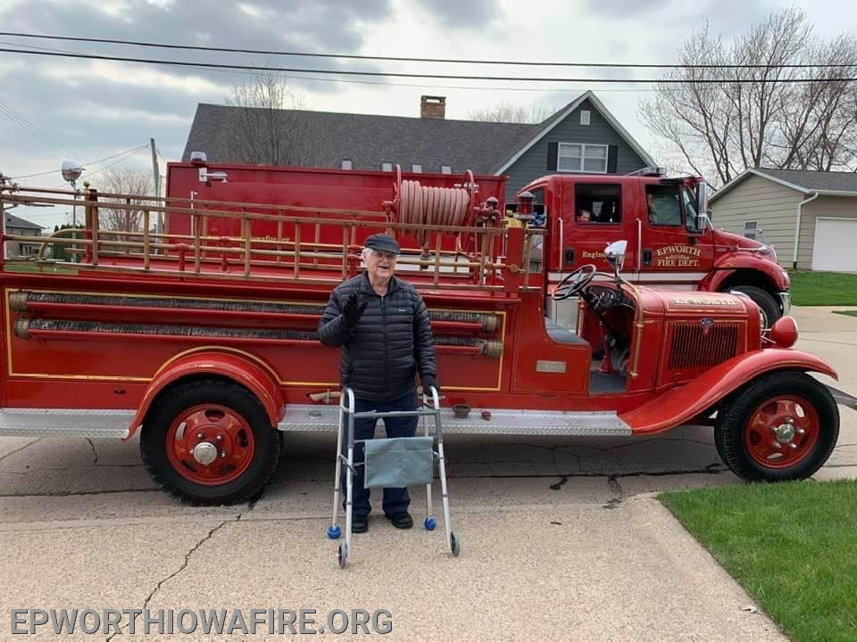 In April 2020, the fire department as well as many townspeople participated in a Birthday Parade for Clarence's 95th Birthday.  He is shown here with Epworth's first fire truck - Herman.