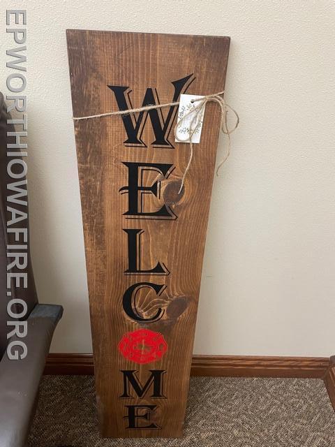 Welcome Sign donated by Woodsign Studio Kara Ploessl
