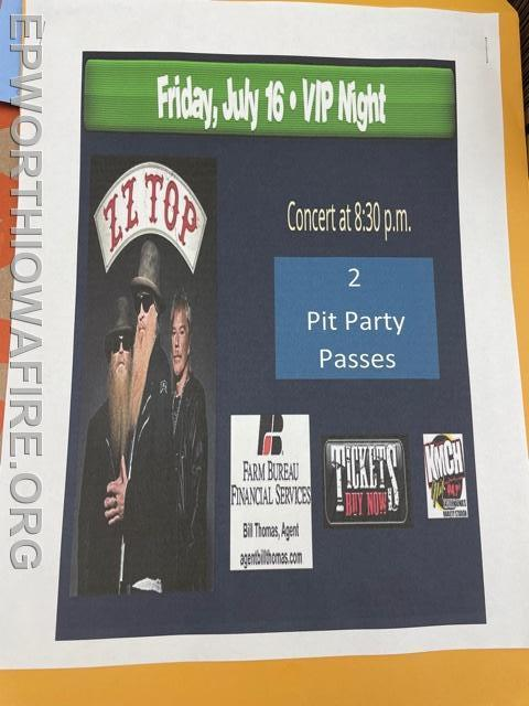 2- ZZ Top VIP Party Passes July 16th Delaware CO Fair donated by Jacob and Sara Reiff