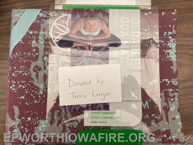 Yoga Mat donated by Terri Lenger