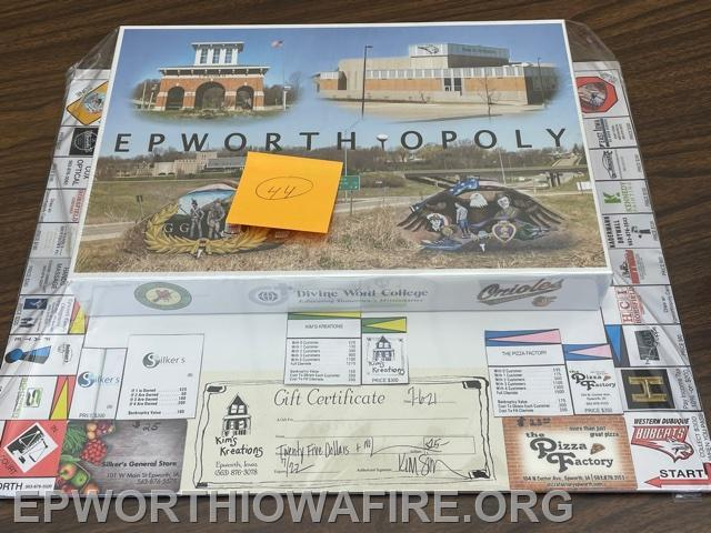 Epworthopoly with Gift Cards to local places. Donated by Sandy Gassman
