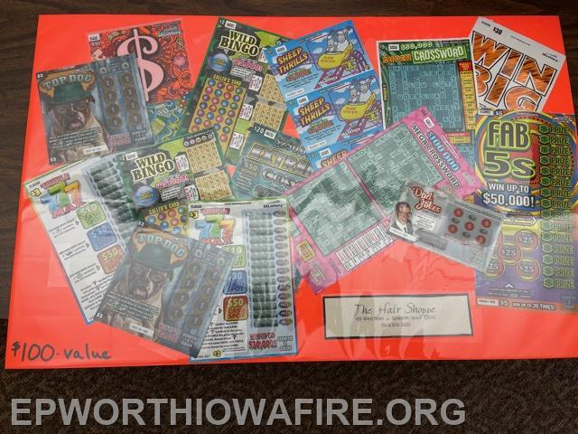 $100 Lotto tickets donated by the Hair Shop