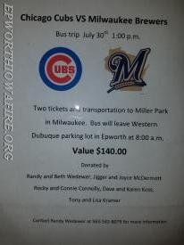 Cubs vs Brewers Bus Trip
